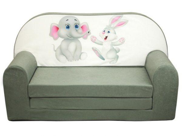 Rozkladacia detská pohovka - zajac a slon - sivá